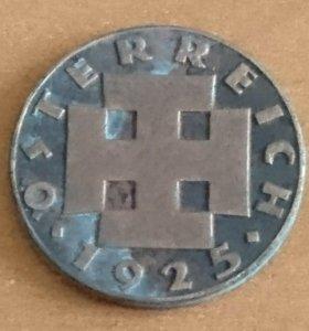 2 гроши 1925г. Монета Австрии.