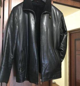 Куртка кожаная теплая