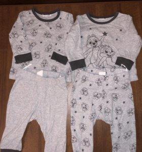2 пижамы H&M размер 62 в идеале
