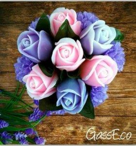 Горшочек из мыльных цветов