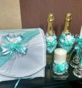 Свадебные набор (казна, свечи, украшения на бут.)
