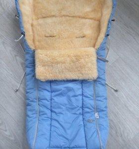 Конверт меховой на овчине в коляску