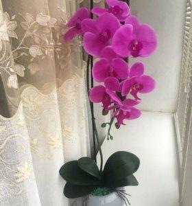 Орхидея искусственная,из латекса 💜
