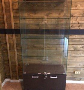 Премиум витрина (шкаф) из тёмного дерева