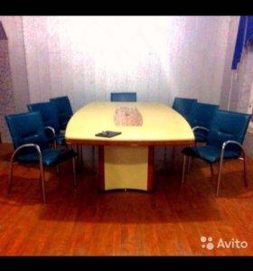 Большой, кожаный, офисный стол для совещаний