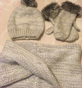 Комплект-шапка,шарф,варежки