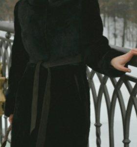 Шуба из мутона+норка, размер 46
