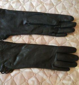 Перчатки женские кожаные тёплые