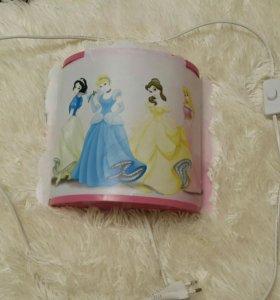 Детский, настенный светильник, Disney, принцессы