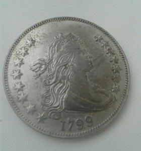 Монета серебрянная 1$(редкая) 1799 год