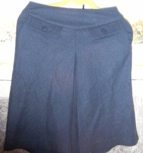Синяя суконная юбка