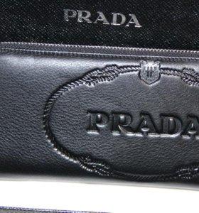 Модный кожаный клатч Prada milano black new