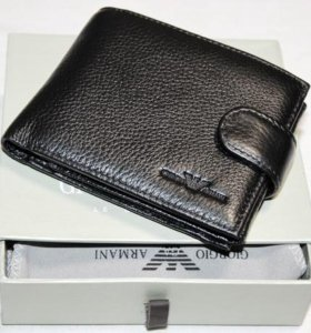 Мужской кожаный кошелек Armani black новый