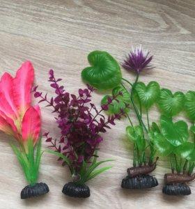 Декор для аквариума, искусственные растения
