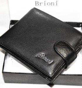 Мужской кожаный кошелек Brioni black new