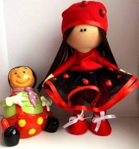 """Интерьерная кукла """"Божья коровка""""(в наличии)"""