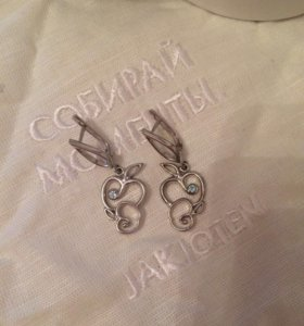 Новые дизайнерские серьги серебряные