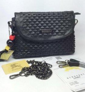 Женская кожаная сумочка Burberry black new