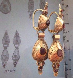 Старинные золотые серьги с гранатами экспертиза