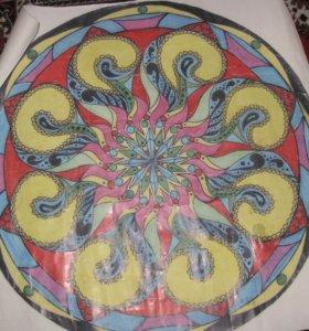 пано рисовано в ручную 1м на 1м толстая бумага