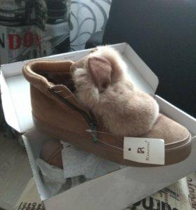 Зимние ботиночки зайки 35.36 размер