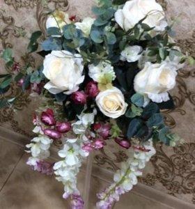 8шт праздничный букет роз цветов с вазой