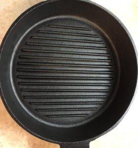 Сковорода гриль чугунная
