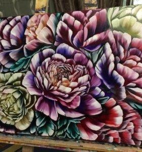 """Картина маслом на холсте """"Контрастные цветы пионы"""