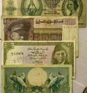 4 различных банкноты(Венгрия,Бирма,Пакистан,Индоне