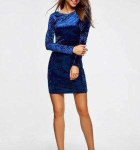 Платье бархатное синее
