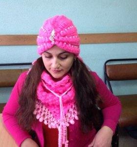 Розовая чалма с шалью-бактусом для всех возрастов.