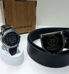 Philip plein часы+ ремень подарок мужчине