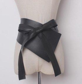 Женский черный кожаный пояс корсет