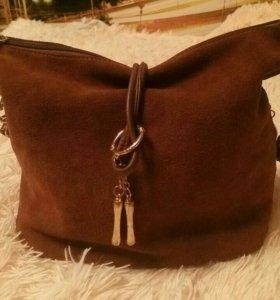Натуральная замшевая сумка
