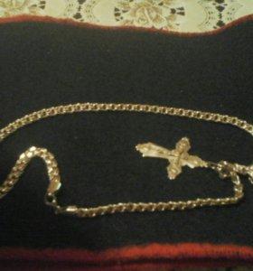 Цепочка серебряная с крестом