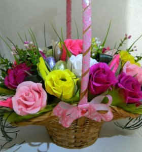 Корзины сладких роз.