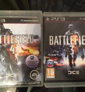 Диски PS3 Battlefield 3 и 4