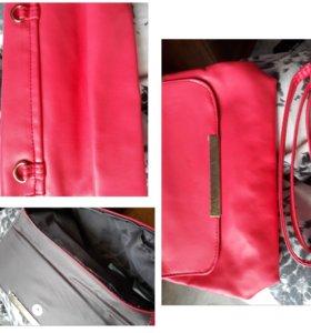 Клатч, сумочка, кожзам, коралового цвета