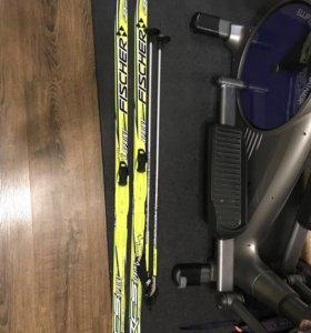 Лыжи Fischer 150 см, палки, ботинки Nordway р. 36