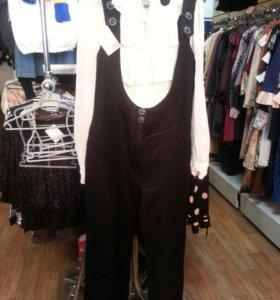 комбинезон черный+ белая блузка, размер 44-46