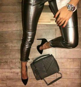 Кожаные штаны металлик