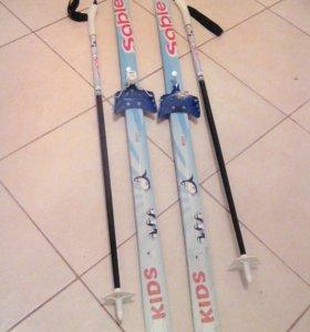 Лыжи 140+лыжные ботинки в подарок
