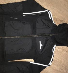 Мастерка спортивная adidas, размер s, с капюшоном