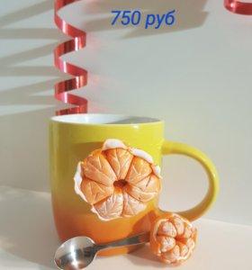 Набор кружка+ложка из полимерной глины