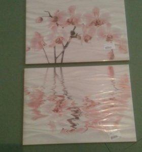 Продам плитку с рисунком орхидея и бордюр