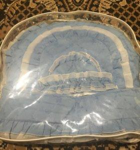 Конверт на выписку голубой с лентой