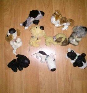 Мягкие игрушки собачки и 1 кошка в ассортименте
