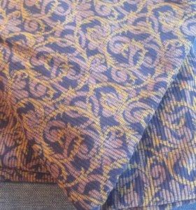 Ткань Вельвет коричневый с рисунком