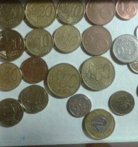 Монеты, евро , злото , центы : и юбелейные 10 руб