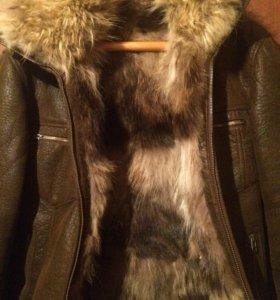 Мужская куртка- дубленка с мехом волчим